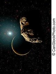 Digital Illustration of a Space Scene - Digital 3D...