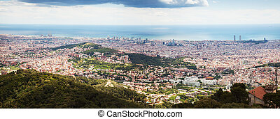 Top view of european city Barcelona