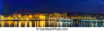 panorama of Port of Barcelona in night. Catalonia, Spain