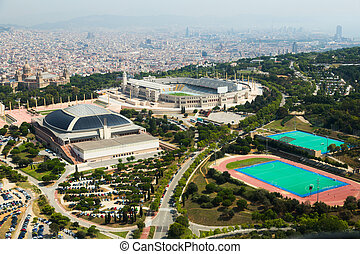 view of Olimpic area of Montjuic. Barcelona, Spain