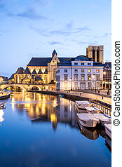 Ghent Belgium - Picturesque medieval buildings on Leie river...