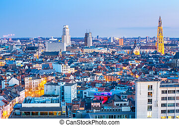 Antwerp cityscape with cathedral of Our Lady, Antwerpen...