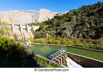 Day view of dam at Chorro river.  Andalusia, Spain