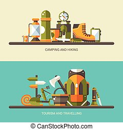 Modern flat design illustration of camping and hiking info graph