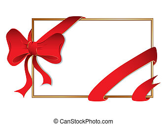 Golden frame with big bow, vector illustration