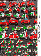 Collection of souvenir magnets in Italy