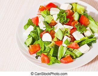 新鮮, 蔬菜, 沙拉, 乳酪