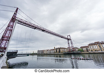 Ultra Wide view closeup of the Bizkaia suspension bridge and...