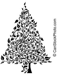 Artistic pine tree isolated over white, vector illustration