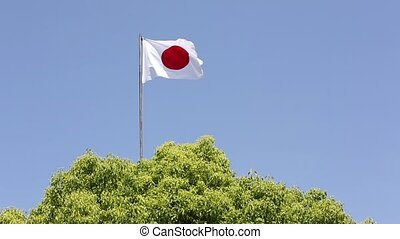 Japanese flag waving in wind against clear blue sky