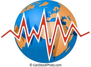 tierra, y, terremoto, lines., Richter, magnitud, escala,