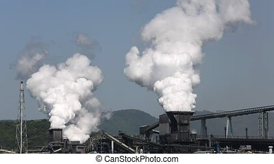 Industrial plant - Industrial refinery plant with smoke, air...