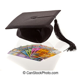 mortar board and the swiss franc. education costs.