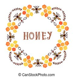 Honey label vintage style - round form