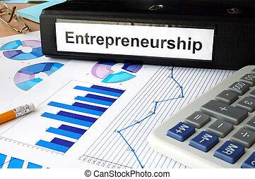 entrepreneurship - Folder with the label entrepreneurship...