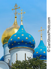 Dormition Cathedral - Closeup of the cupolas of Dormition...