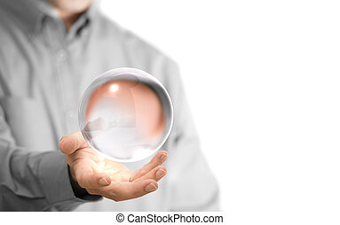 Crystal Ball - Caucasian man holding a glass or crystal...