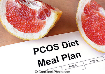 Paper with PCOS diet  Meal plan and grapefruit