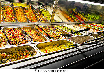 Prepared food - Big display in supermarket with prepared...