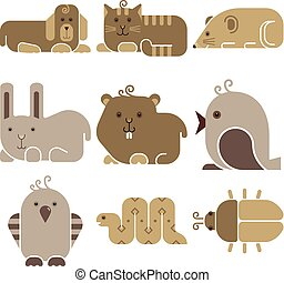 Zoo animals icons set - stylized art animals silhouettes