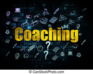 Education concept: Coaching on Digital background