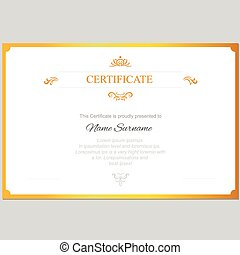 Vector certificate template with gold frame