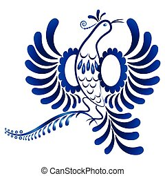 Floral ornament in Gzhel style. Flying bird. Russian folklore
