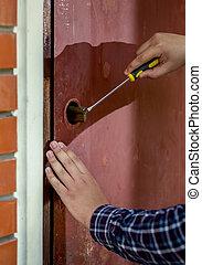 closeup, de, charpentier, essayer, à, ouvert, porte,...