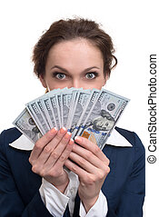 young business woman holding money Isolated over white