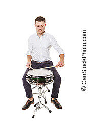 Learn to properly play the drums - Handsome guy in a white...