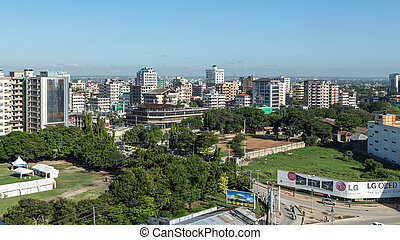Downtowm Dar Es Salaam - View of the downtown area of the...