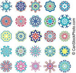 Set of stylized images of flowers. Vector illustrations...