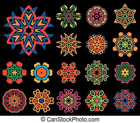 Set of stylized images of flowers Vector illustrations...