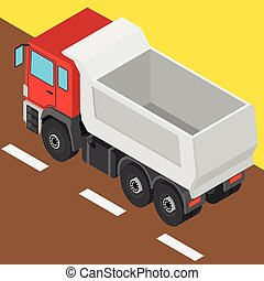 the truck in isometric projection - 3D illustration