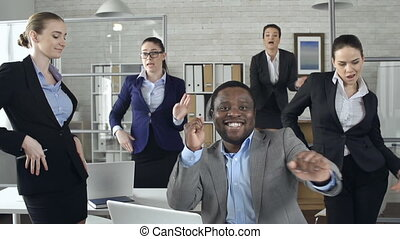 Bizarre Office - Slow motion of happy business team...