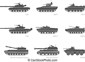 Stylized images of armored vehicles for military...