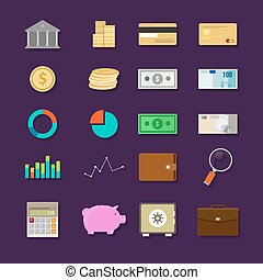 money finance banking icon set flat