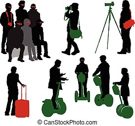 Tourist Part 6 - Silhouettes of tourists in different...