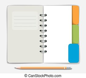 Opened note pad and pencil. Vector illustration