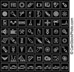 Car parts, tools and accessories Set of vector icons