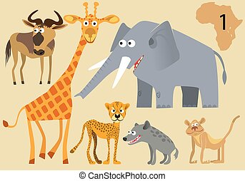 Funny wild animals of Africa