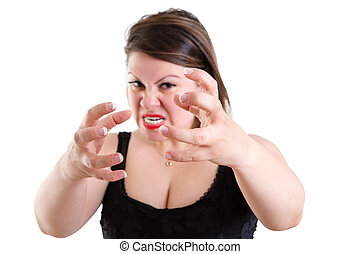Furious temperamental woman clawing her hands and gnashing...