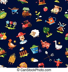 Pattern of modern flat design  farm and agriculture icons