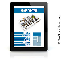 tablet pc smart house - smart house concept: render of a...