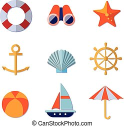 Sea Objects Collection Vector - Sea objects collection...