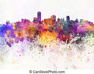 Adelaide skyline in watercolor background