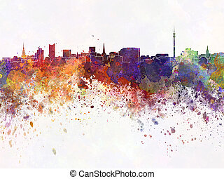 Dortmund skyline in watercolor background
