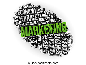 marketing on cloud of words isolated on 3d