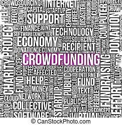 crowdfunding concept: text on a cloud