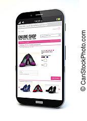 e-commerce smartphone - e-commerce concept: touchscreen...
